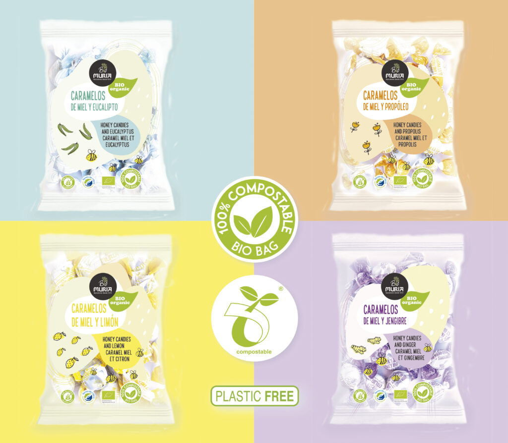 Caramelos de miel ecológica con envase 100% compostable